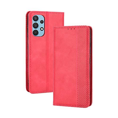 GOGME Leder Hülle für Samsung Galaxy A32 4G(Not for 5G Edition), Premium PU/TPU Leder Folio Hülle Schutzhülle Handyhülle, Flip Hülle Klapphülle Lederhülle mit Standfunktion und Kartensteckplätzen, Rot