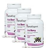 SanaExpert Acai Berry Pack X3, Suplemento Nutricional con Extracto Puro de Bayas de Acaí, 100% Natural, Libre de Gluten, Lactosa, Apto para Vegetarianos y Veganos, 120 Cápsulas (3)