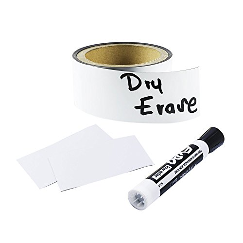 Houseables Magnetic Strip Rolls, Dry Erase Labels, 2� x 10�, Magnet, Glossy White, Write On, Wipe Off, Magnetically Receptive Whiteboard Sheet, Business Filing Cabinet Magnets