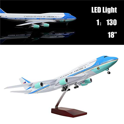 """24-Hours 18"""" 1:130 Scale Model Jet United States Air Force One B747 Planes Model Kits Display Diecast Airplane for Adults with LED Light(Touch or Sound Control)"""