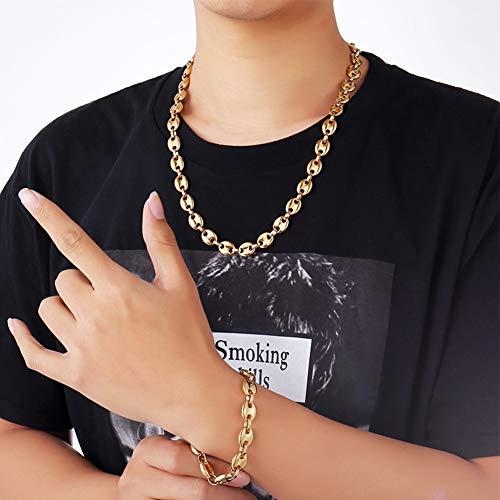 WTZWY Mode Edelstahl Kaffeebohnen Link Halskette mit Link Armband Handgelenk für Männer Frauen 18 Karat echte vergoldete Kette, Geschenkbox senden,Gold