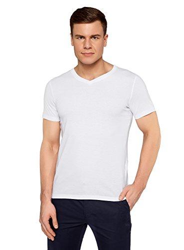 oodji Ultra Herren T-Shirt Basic mit V-Ausschnitt, Weiß, S