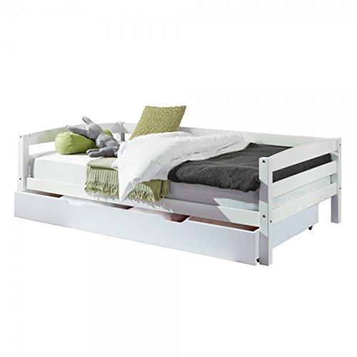 Relita Kinderbett Nora mit Bettkasten 90 x 200cm Buche massiv Weiß lackiert Sofabett Einzelbett Kinderzimmer Jugendbett Sofabett