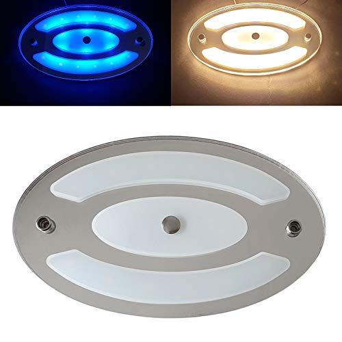 Marvix LED-Deckenleuchte, 12 V, 24 V, dimmbar, 6 W, Hochglanz, Tag-/Nacht-Berührungsschalter, Innenleuchte für Wohnmobil, Wohnwagen, Boote
