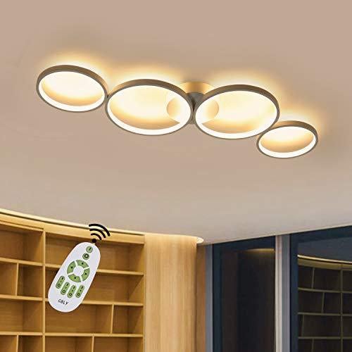 GBLY LED Dimmbar Deckenlampe Modern Wohnzimmerlampe 4 Flammig in Ringoptik, 55W Weiß Innen Deckenleuchte aus Aluminium Dekorative Kronleuchter für Schlafzimmer Wohnzimmer Büro Arbeitszimmer, 88cm