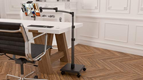 LEVO Deluxe iPad Floor Stand Kiosk for All Best Tablet PCs, iPads, iPad Mini, New iPad Pro, Galaxy, Nexus, Xoom, Surface Pro, Miix, Nook, Fire, and Other Tablets and eReaders Gunmetal Color - G2