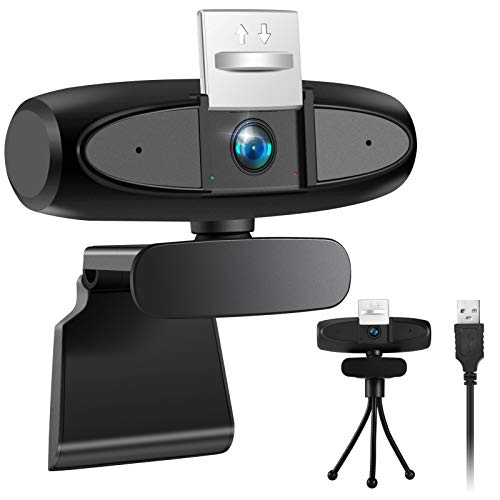 KNMY Webcam Full HD con Microfono per PC, Videocamera Web 1080p USB Webcam Privacy Cover per Laptop Streaming, Supporto Girevole 360 ° Adatto per Youtube, Skype, Insegnamento Online/Conferenze