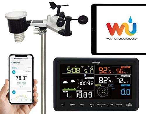 Sainlogic Profi WLAN Funk Wetterstation mit Außensensor, Regenmesser, Wettervorhersage,Windmesser, Farbdisplay, Wunderground