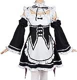 COSAUG Disfraz de Cosplay de Ram & Rem Maid Dress de Re: Zero Kara Hajimeru Isekai Seikatsu,tamaño M