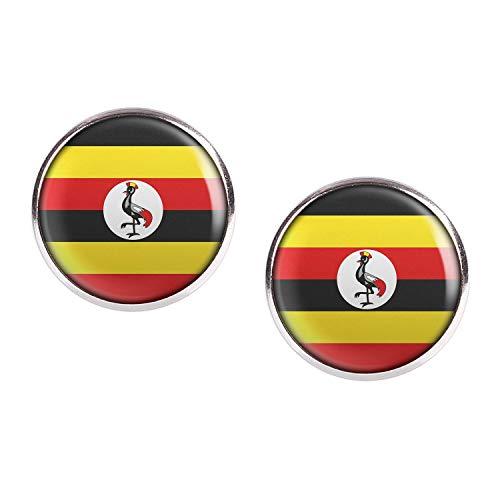 Mylery Ohrstecker Paar mit Motiv Uganda Kampala Flagge silber 16mm