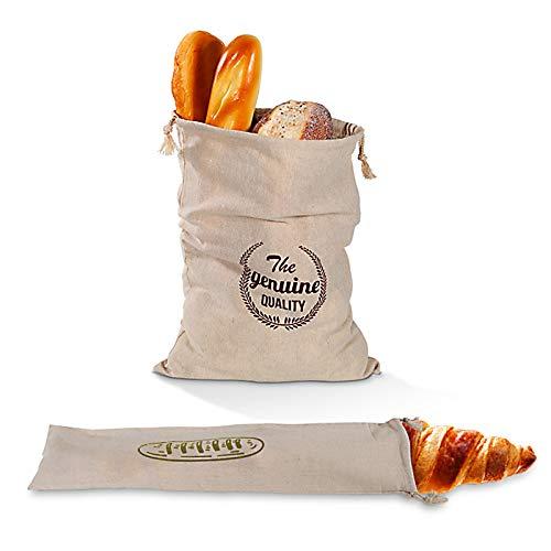 Lmbqye Leinenbrottaschen, 2 Stück wiederverwendbare Leinenbrottaschen, Baumwollbrottasche, ungebleicht, Kordelzug-Brottaschen Geeignet für handwerkliches Brot, Baguette