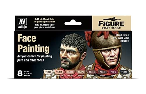 Coffret de 8Pots de Peinture Acrylique Vallejo - Couleurs Assorties et Couleurs Chair - pour modélisme