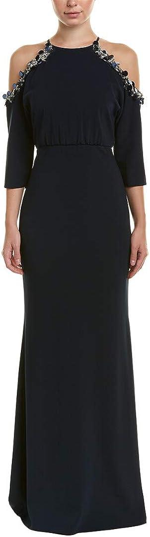Badgley Mischka Womens Embellished Navy Cold Shoulder Evening Dress Gown 0