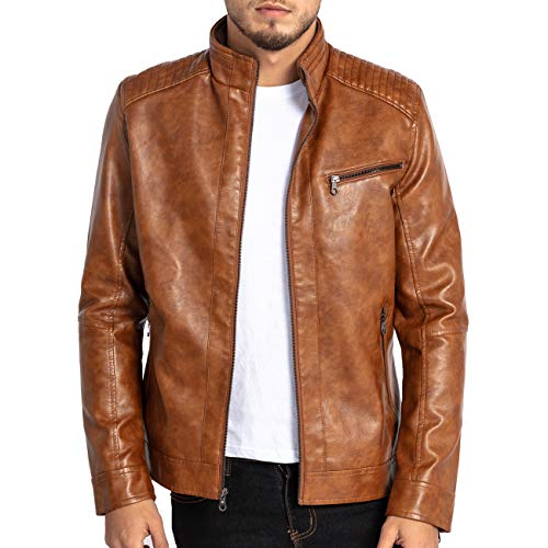 VICALLED Mens Leather Jacket Slim Fit Stand Collar PU Motorcycle Jacket Lightweight Yellow