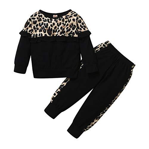 Amissz Felpa Leopardati Neonata + Pantaloni Completi per Bambina Primavera Autunno Abiti Maniche Lunghe Set (12 Mesi-5 Anni)