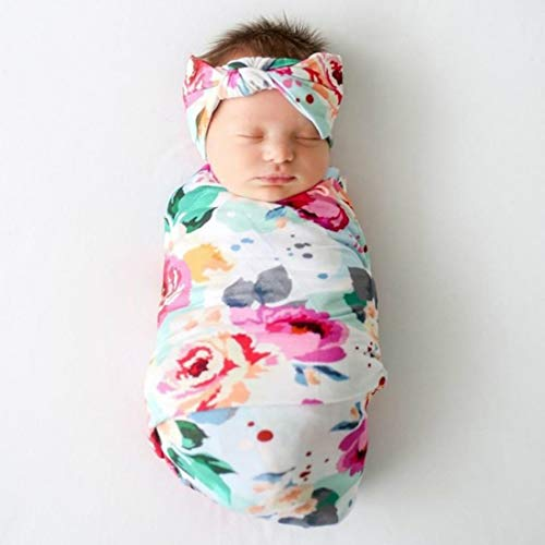 Terriboo Newborn Floral Print Blanket Baby Stretch Wrap with Matching Headband and Beanie