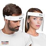 HARD 1x Pro Visier Gesichtsschutz Zertifiziertes Face Shield mit Anti Beschlag, Gesichtsvisier, Gesichtsschild Made in Germany für Erwachsene - Weiß/Schwarz