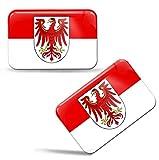 Biomar Labs® 2 x Aufkleber 3D Gel Silikon Stickers Brandenburg Flag Flagge Fahne Auto Motorrad Fahrrad Fenster Tür PC Handy Tablet Laptop F 104