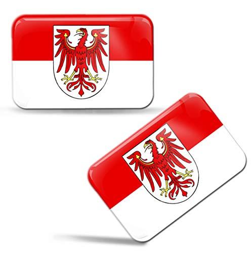 Biomar Labs® 2 x 3D Domed Siliconen Stickers Decals Brandenburg Duitsland Regio Staat Nationale Vlag Auto Motorhelm F 104