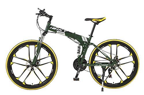 Ibiky 26' MTB Folding Dual Suspension 21 Speed Gears Mountain Bike (Pink)