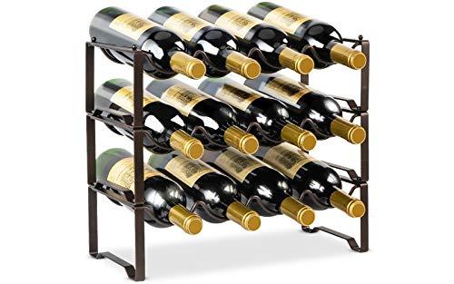 AULEDIO 3-Tier Stackable Wine Rack, Metal Bottle Organizer, Small Wine Storage Holder Wine Shelf Freestanding Hold 12 Bottles for Kitchen Countertop Pantry Cabinet, Bronze