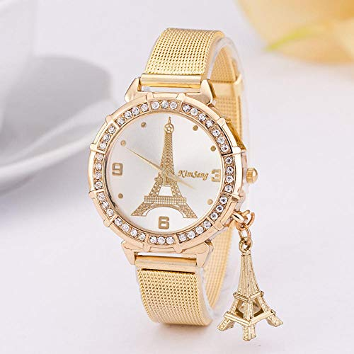 Reloj para Mujer Pulsera de Regalo Torre Eiffel Reloj para Mujer Dial Dorado Reloj estéreo con Colgante
