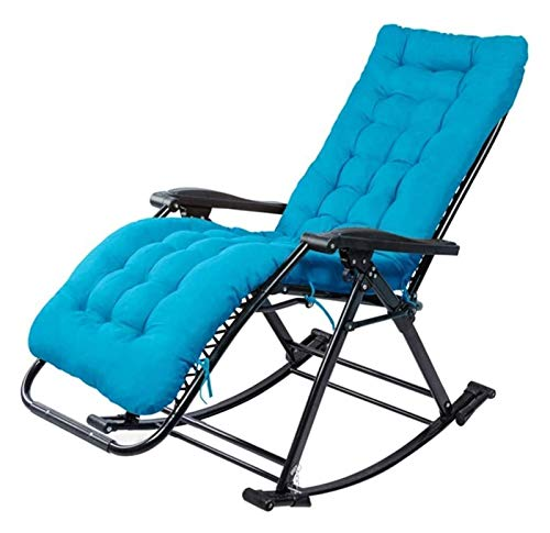 MTCWD Rocking Chair Ith Cushions Zero Gravity Chaise Lounges Patio Lounger Chair Outdoor Office Beach Folding Portable Recliner (Color : Blue)