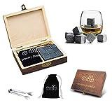 Whiskey Stones Gift Set Wooden Box - 9 Granite Chilling Stones and Tongs Black Velvet Bag, 100% Pure Soapstone for Cold Whiskey Beverages Men Best Gift