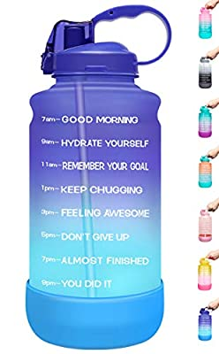 Elvira Large 1 Gallon/128 oz Motivational Time Marker Water Bottle with Straw & Protective Silicone Boot, BPA Free Anti-slip Leakproof for Fitness, Gym and Outdoor Sports-Purple/Green Gradient