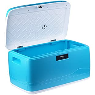 Vinteky 32L Storage Boxes | For Home or Office | Lockable and Stackable, Sustain Impact, Heat and Chemicals |Safe Storage Containers, Featuring Number Coded Lock - 46x28x24.5cm (Cyan)