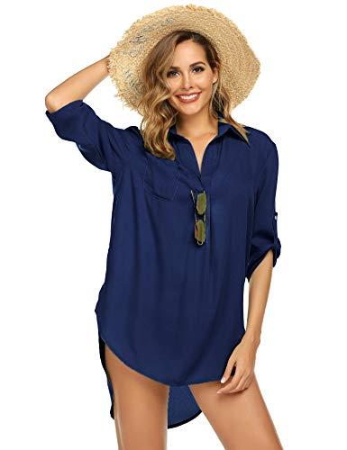 LOMON maiô feminino saída de praia saída de praia biquíni praia traje de banho vestido de praia P-GG, Azul marinho, X-Large