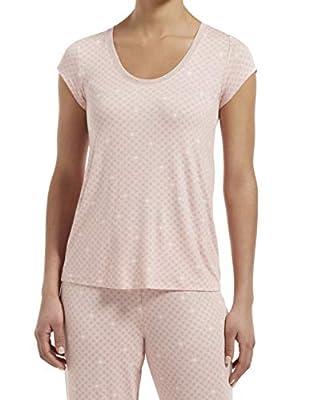 HUE Women's SleepWell with TempTech Short Sleeve Pajama Sleep Top, Calming Rose, Medium by HUE