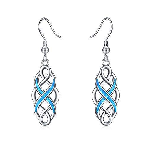 LUHE Celtic Earrings Sterling Silver Oxidized Good Luck Irish Vintage Celtic Knot Dangle Dangling Earrings Jewelry Dangles Gifts for Women Girls (Blue Celtic knot earrings)