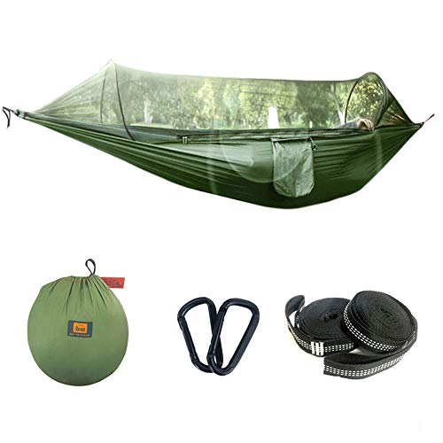 Camping Hammock with Mosquito Bug Net Lightweight Easy Setup with Tree Straps Portable Nylon Parachute for Indoor, Outdoor, Hiking, Backpacking, Travel, Backyard, Beach