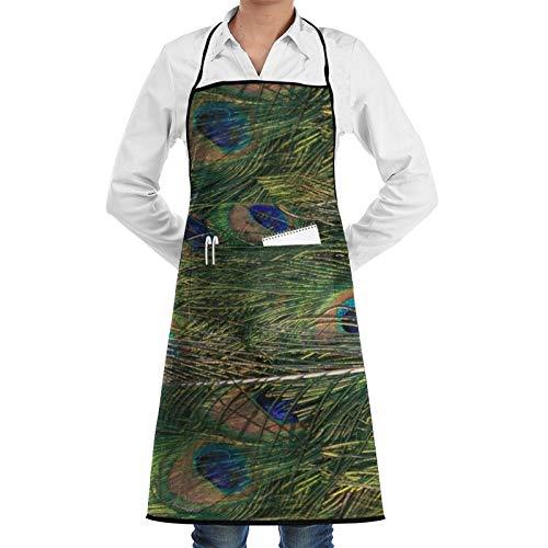 Delantal de cocina con diseño de pavo real con bolsillos