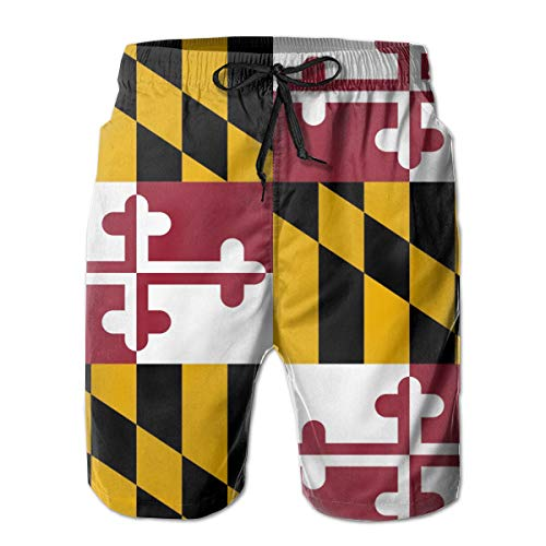 NiYoung Men's Fashion Swim Trunks Quick Dry Elastic Waistband Bathing Suits Flag of Maryland Board Shorts with Pockets