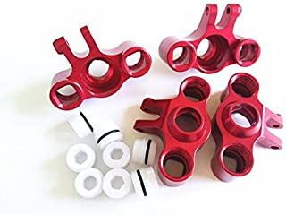 CrazyRacer Alloy Aluminum Front & Rear Axle Carriers Knuckle Arm Red for 1/16 Mini E REVO Summit Slash Rally - 4PCS Set