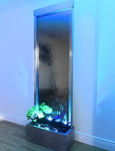 Jersey Home Decor Waterfall XXL 72'x24' Floor Standing Water Fountain, Mirror backgr,Color Lights, Remote Ctrl