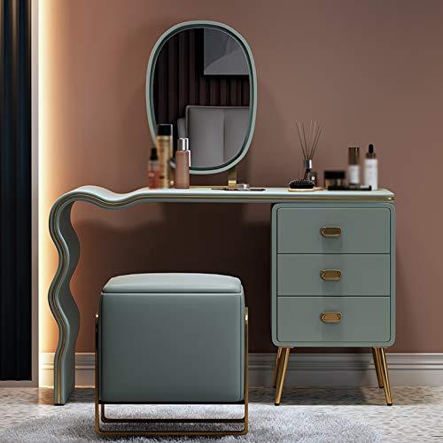 SVHK Mesa Multifuncional, tocador móvil y Ajustable, Tocador de Sala de Estar de Metal Cepillado, casilleros Personalizados, para el vestidor, baño