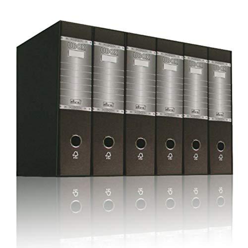 Elica UBOX 6 Pz Raccoglitori ad anelli a4 dorso 8 con Meccanismo a Leva, Scatola Raccoglitore, Formato Commerciale, Registratore, Faldone Porta Documenti Favorit (Nero)