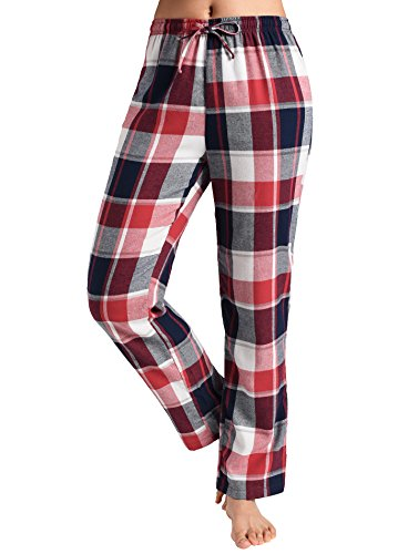 Latuza Women's Pajama Pants Cotton Lounge Pants Plaid PJs Bottoms 2X Red & White
