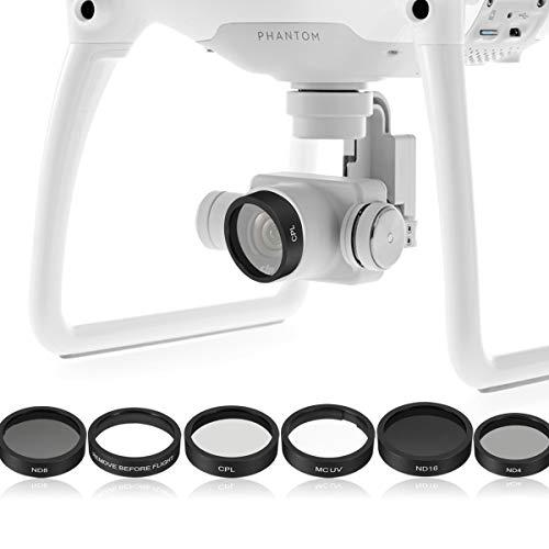 HONG YI-HAT 6pcs Camera Lens UV + CPL + ND4 / 8/16 Filtro Protect for DJI Phantom 4 / Phantom 3 PRO/Advanced Set di filtri (Color : As Shown)