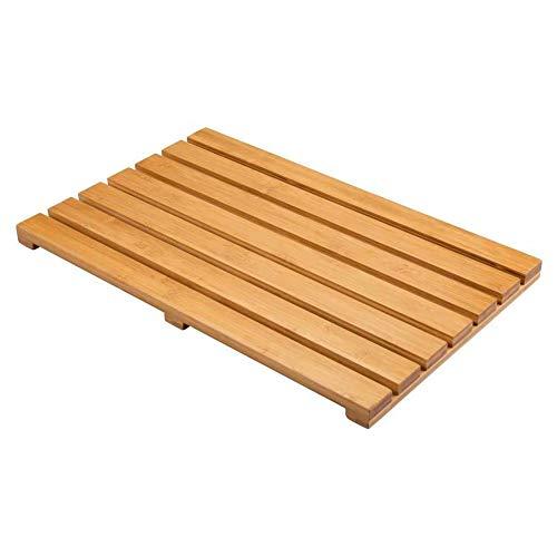 CUCOS NEST Caillebotis Bois Naturel Salle de Bain rectangulaire, antidérapant, Tapis de bain en bois de bambou. Dimensions 53 x 36 cm Couleur bois de bambou clair.