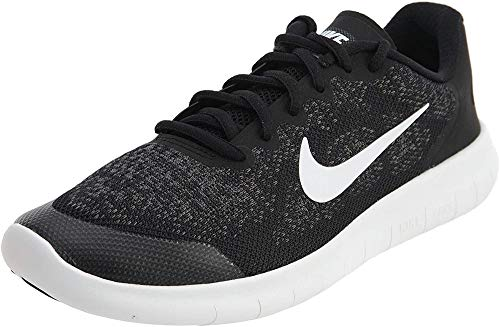 Nike Kids Free Rn 2017 (GS) Black/White Dark Grey Running Shoe 5 Kids US