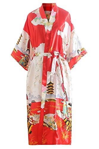 YAOMEI Novia Mujer Vestido Kimono Satén, Camisón para