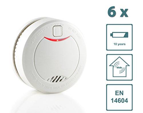Slabo Detector de Humo/Detector de Incendios/Detector de Incendios con batería de 10 años y Sensor fotoeléctrico – Blanco - 6 Unidad