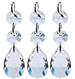 Clear Crystal Beads Chandelier Prisms Pendant Crystal Glass Teardrop Crystal Garland Beads Hanging Crystals for Chandeliers ( 38 mm )