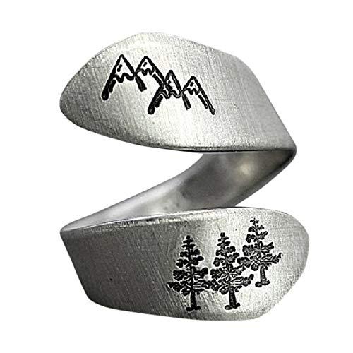 KUYG Frauen Band Ringe, Natur Kunst Ring verstellbare Galvanik Open Ring Geschenk für Frauen eine Größe
