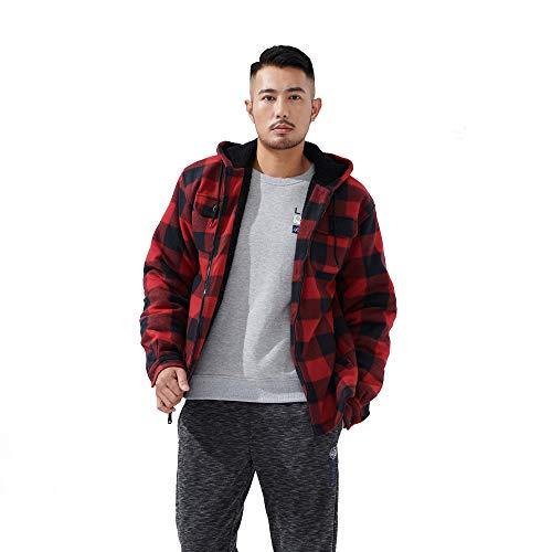 LeeHanTon Mens Sherpa Lined Fleece Zip Up Winter Warm Plaid Flannel Jacket with Hood (Buffalo red, Medium)