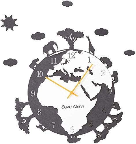 TIANYOU Earth Eco Bäume Nicht Tickend Stummes Wal-Uhr, Kreatives Umweltfreundliches Thema Holzrunde 3D Wanduhr Moderne Nordische Art-Design-Wanddekor, Quarz, Batteriebetrieben, 47X3